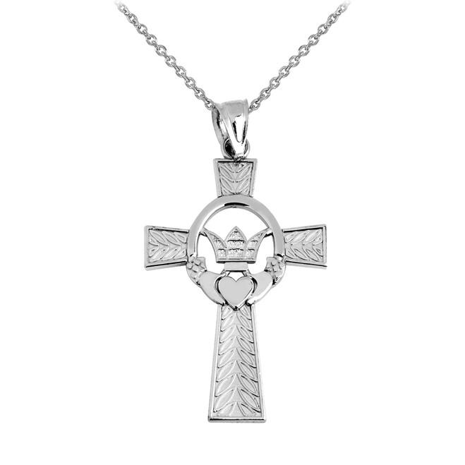 White Gold Claddagh Irish Cross Pendant Necklace