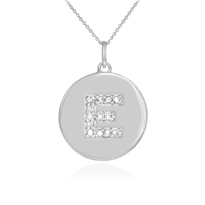 "White Gold Letter ""E"" Initial Diamond Disc Pendant Necklace"