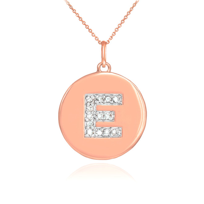 "14k Rose Gold Letter ""E"" Initial Diamond Disc Pendant Necklace"