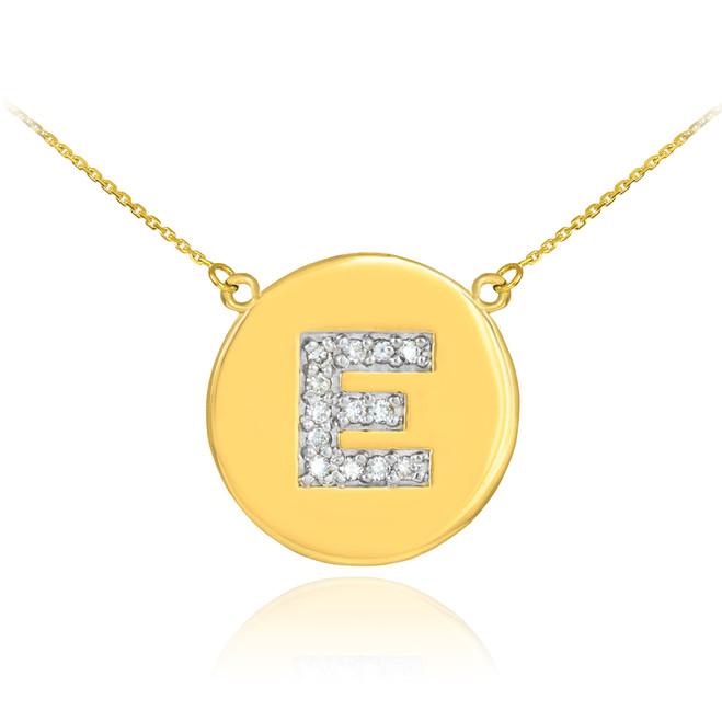 "14k Gold Letter ""E"" Initial Diamond Disc Necklace"