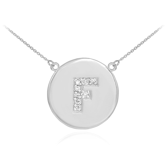 """14k White Gold Letter """"F"""" Initial Diamond Disc Necklace"""