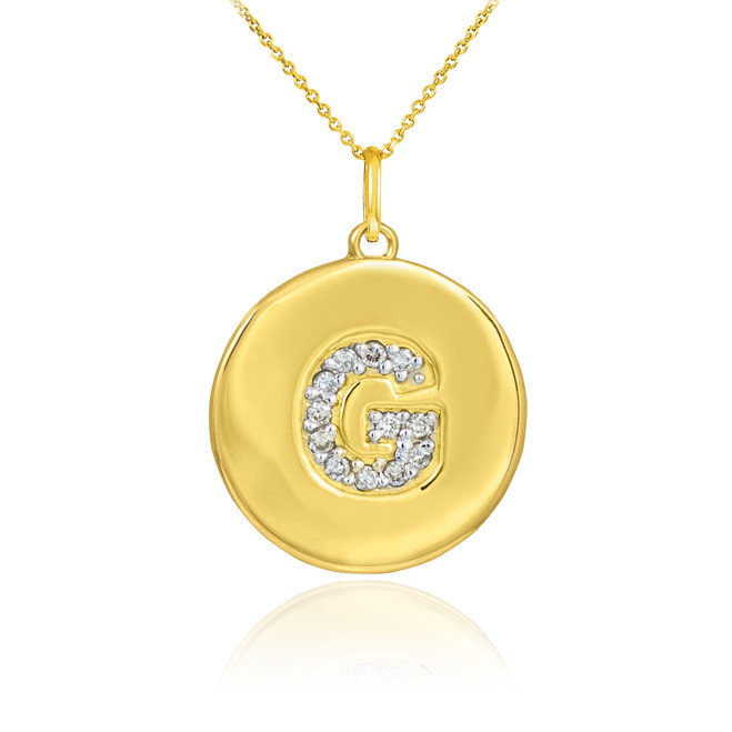 "Gold Letter ""G"" Initial Diamond Disc Pendant Necklace"