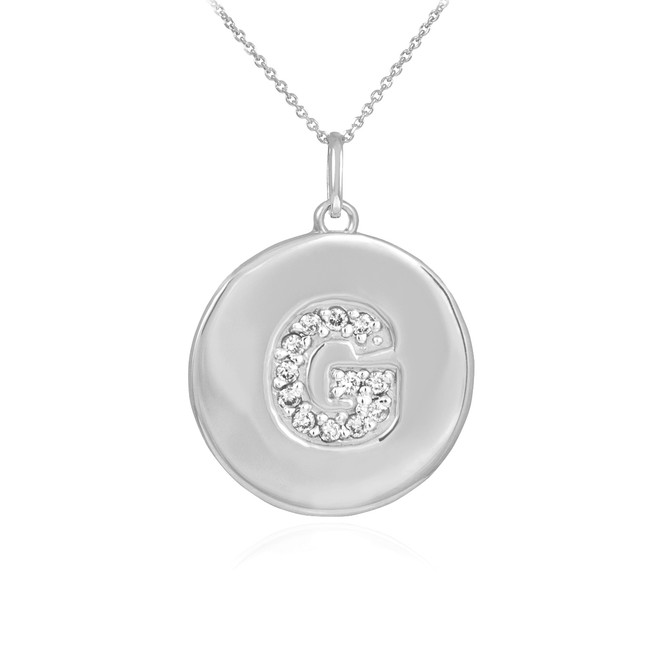 "White Gold Letter ""G"" Initial Diamond Disc Pendant Necklace"