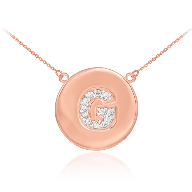 "14k Rose Gold Letter ""G"" Initial Diamond Disc Necklace"