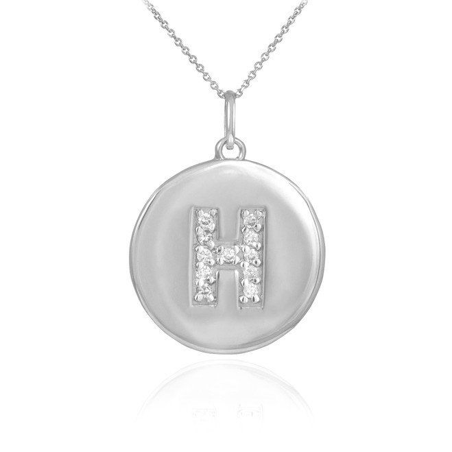 """White Gold Letter """"H"""" Initial Diamond Disc Pendant Necklace"""