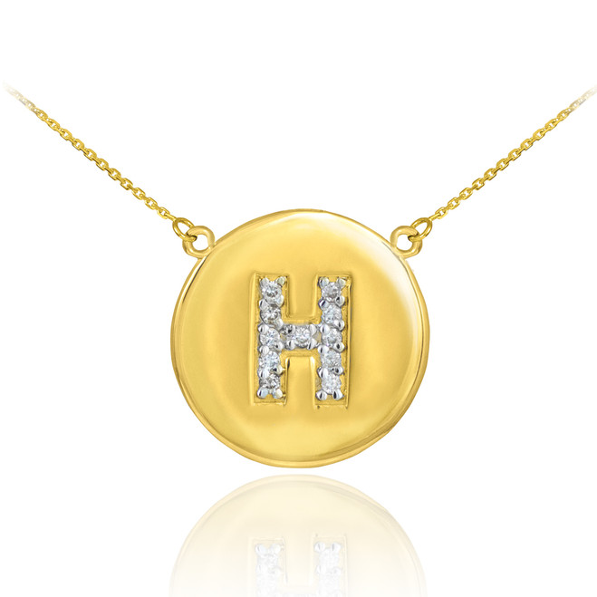 """14k Gold Letter """"H"""" Initial Diamond Disc Necklace"""