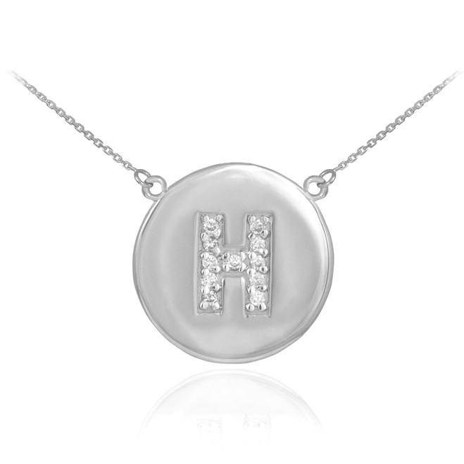 """14k White Gold Letter """"H"""" Initial Diamond Disc Necklace"""
