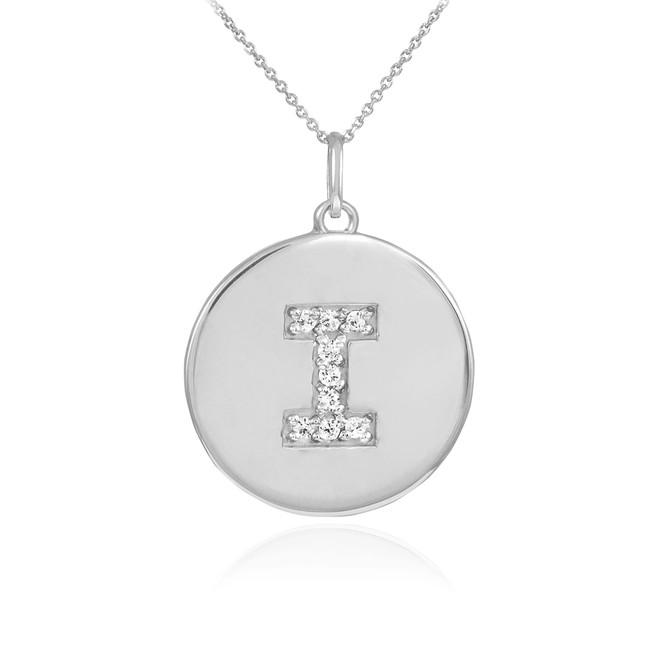 "White Gold Letter ""I"" Initial Diamond Disc Pendant Necklace"