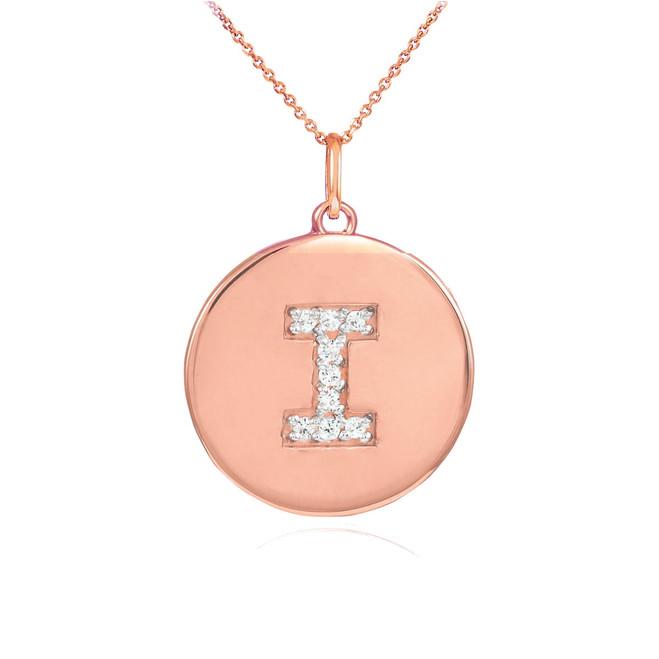 "14k Rose Gold Letter ""I"" Initial Diamond Disc Pendant Necklace"