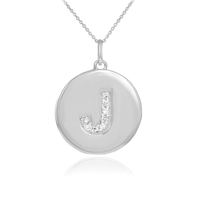 "White Gold Letter ""J"" Initial Diamond Disc Pendant Necklace"
