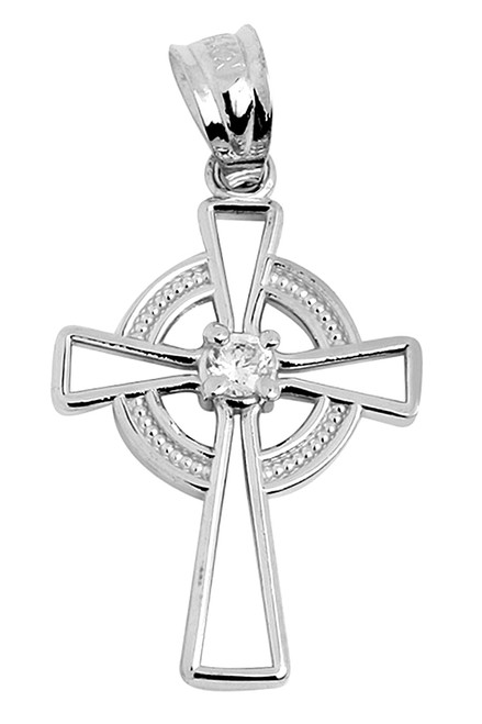 White Gold Irish Celtic Cross Pendant