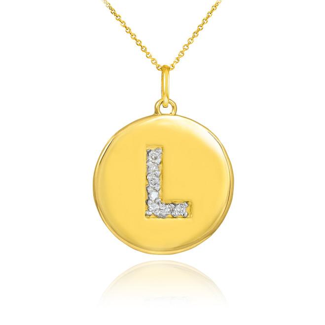 """Gold Letter """"L"""" Initial Diamond Disc Pendant Necklace"""