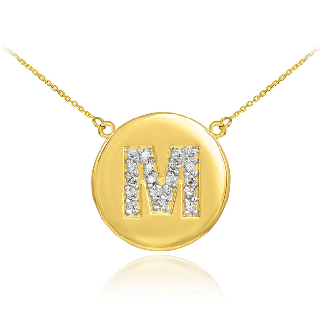"14k Gold Letter ""M"" Initial Diamond Disc Necklace"