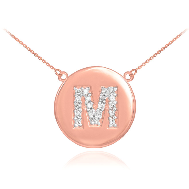 "14k Rose Gold Letter ""M"" Initial Diamond Disc Necklace"