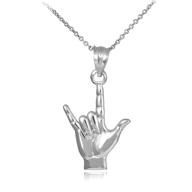 "White Gold ""Hang Loose"" Charm Pendant Necklace"