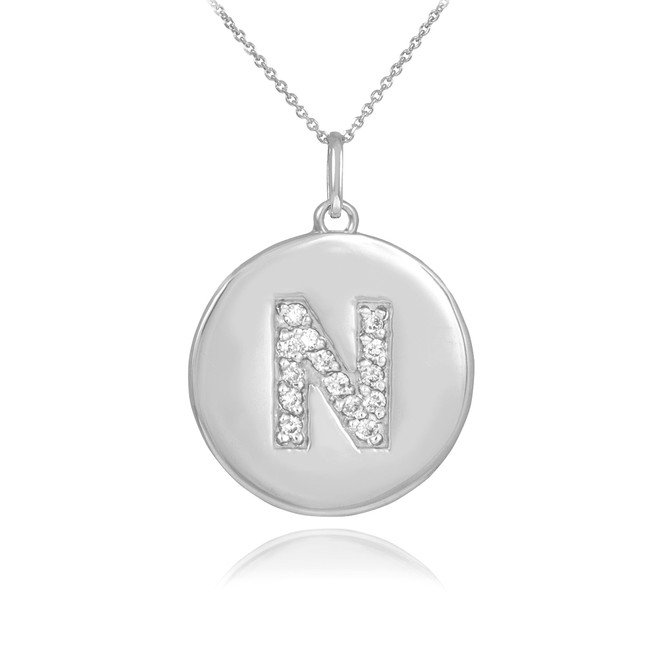 """White Gold Letter """"N"""" Initial Diamond Disc Pendant Necklace"""