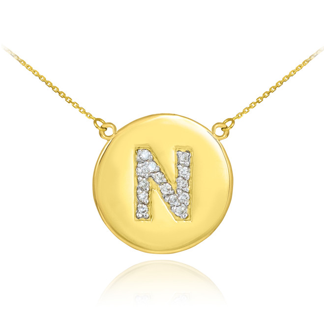 """14k Gold Letter """"N"""" Initial Diamond Disc Necklace"""