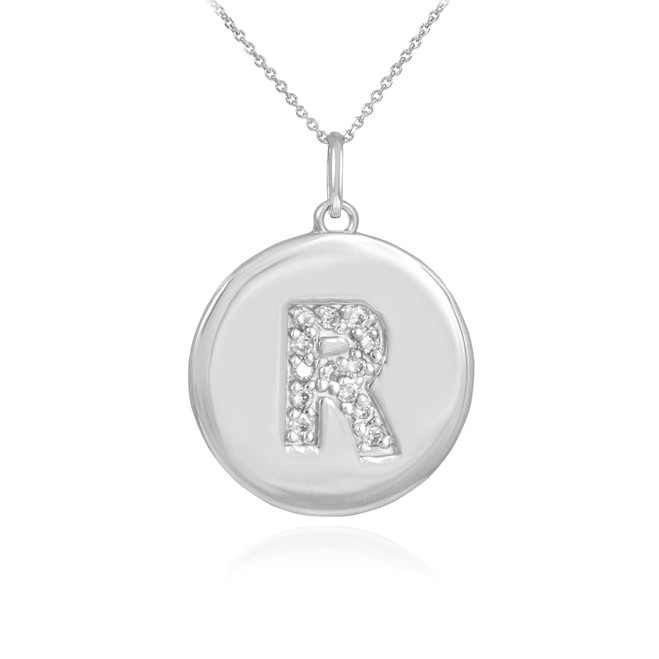 "White Gold Letter ""R"" Initial Diamond Disc Pendant Necklace"