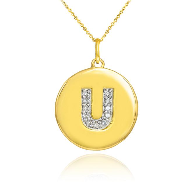 "Gold Letter ""U"" Initial Diamond Disc Pendant Necklace"