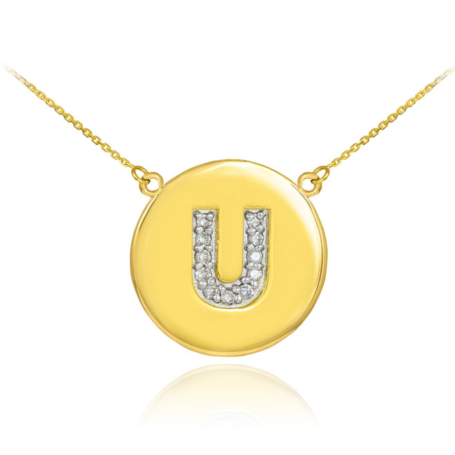 "14k Gold Letter ""U"" Initial Diamond Disc Necklace"