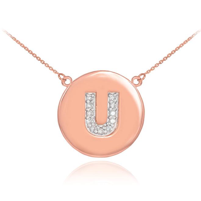 "14k Rose Gold Letter ""U"" Initial Diamond Disc Necklace"