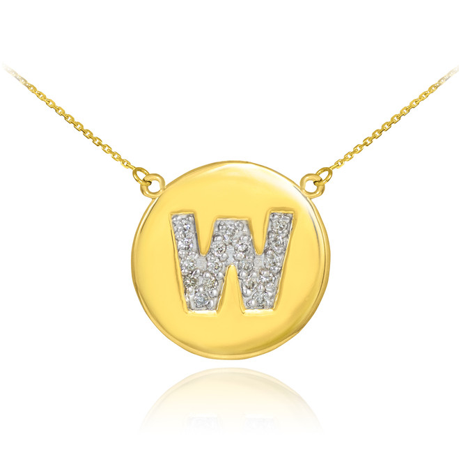 "14k Gold Letter ""W"" Initial Diamond Disc Necklace"