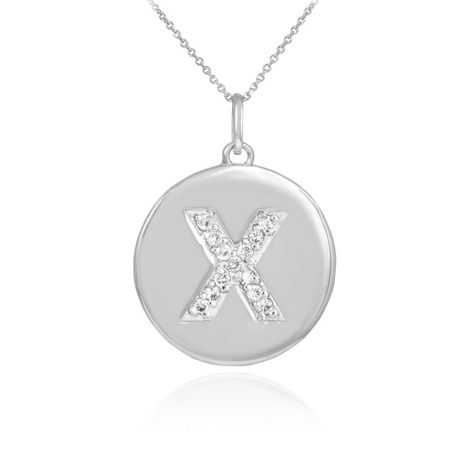 "White Gold Letter ""X"" Initial Diamond Disc Pendant Necklace"