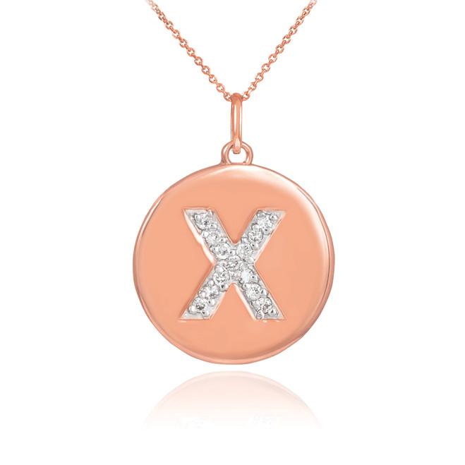 "14k Rose Gold Letter ""X"" Initial Diamond Disc Pendant Necklace"