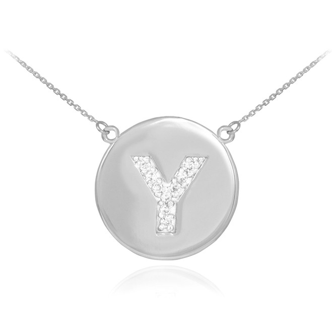 "14k White Gold Letter ""Y"" Initial Diamond Disc Necklace"