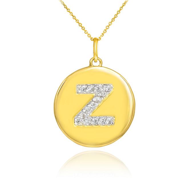 """Gold Letter """"Z"""" Initial Diamond Disc Pendant Necklace"""