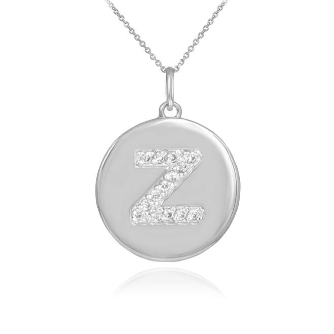 "White Gold Letter ""Z"" Initial Diamond Disc Pendant Necklace"