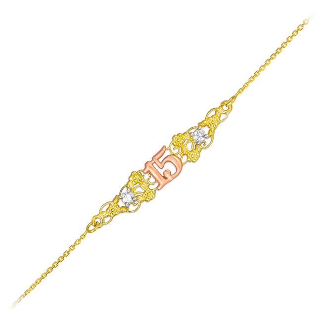 15-Anos Quinceanera  Tri-Tone 14k Gold Bracelet