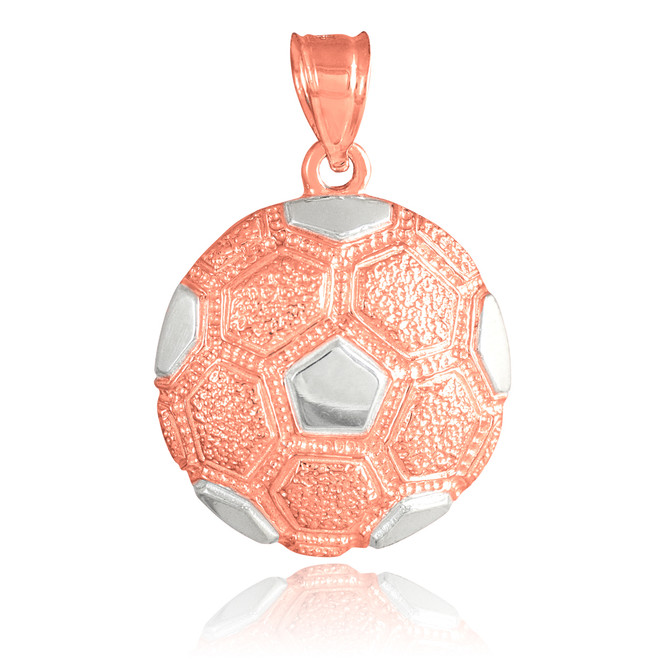 Rose Gold Textured Soccer Ball Sports Pendant