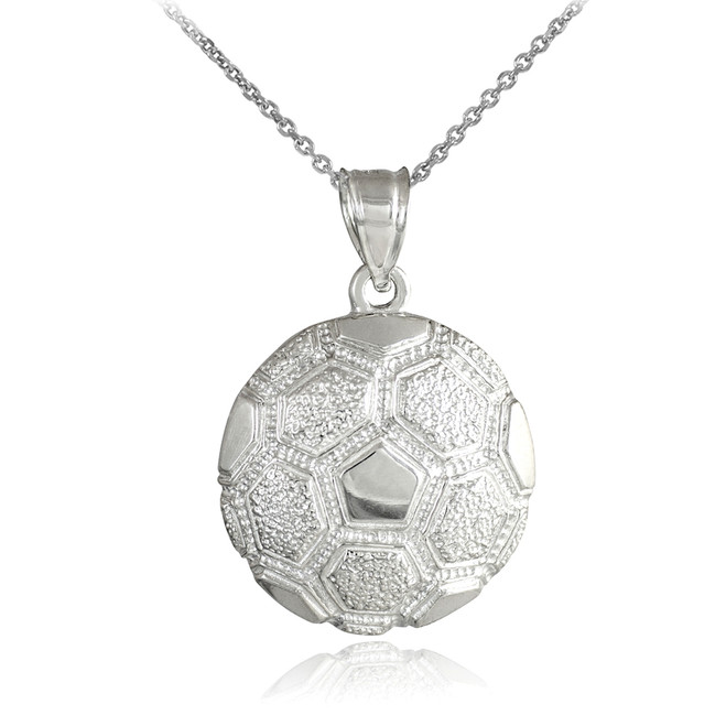 Silver Textured Soccer Ball Sports Pendant Necklace