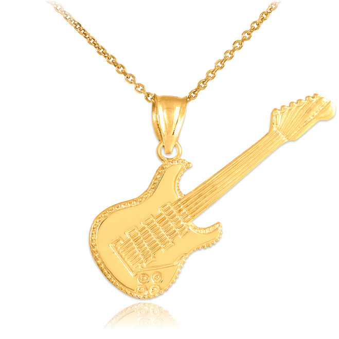 Gold Electric Guitar Pendant Necklace
