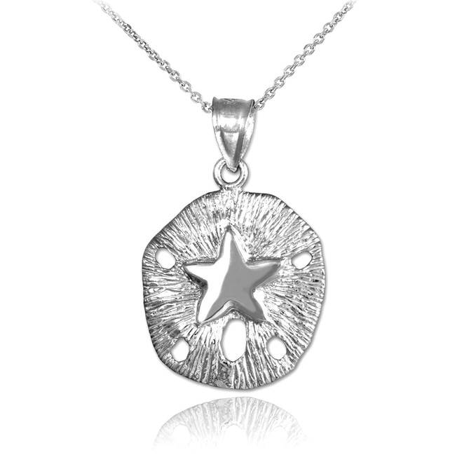 White Gold Textured Sand Dollar Pendant Necklace