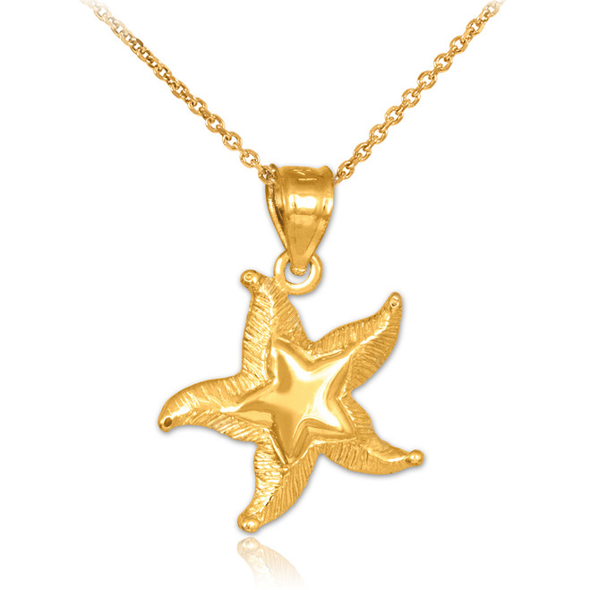 Gold Textured Starfish Pendant Necklace