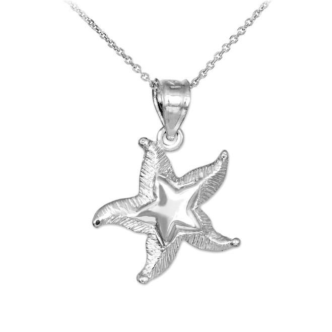White Gold Textured Starfish Pendant Necklace