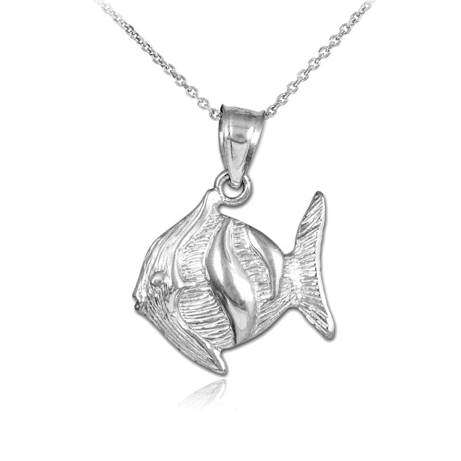 Silver Clown Fish Pendant Necklace