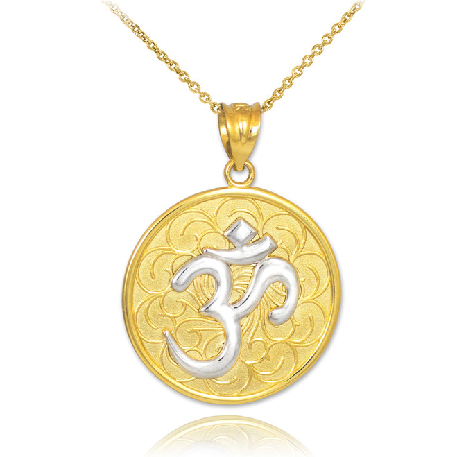 Two-Tone Gold Om Medallion Pendant Necklace