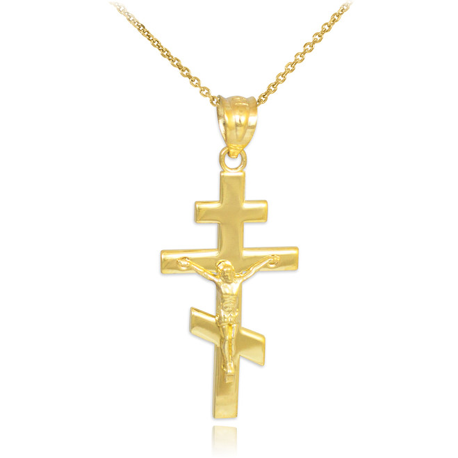 Gold Russian Orthodox Crucifix Pendant Necklace
