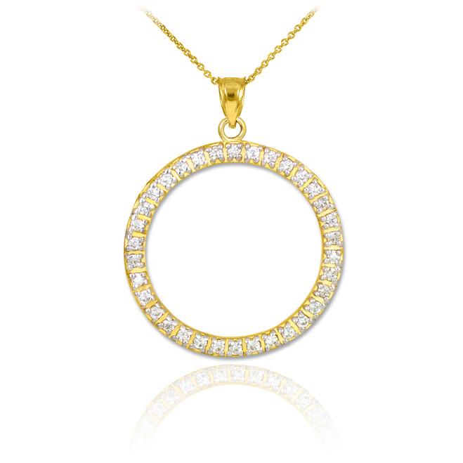 14K Gold Eternity Circle of Life CZ Pendant Necklace