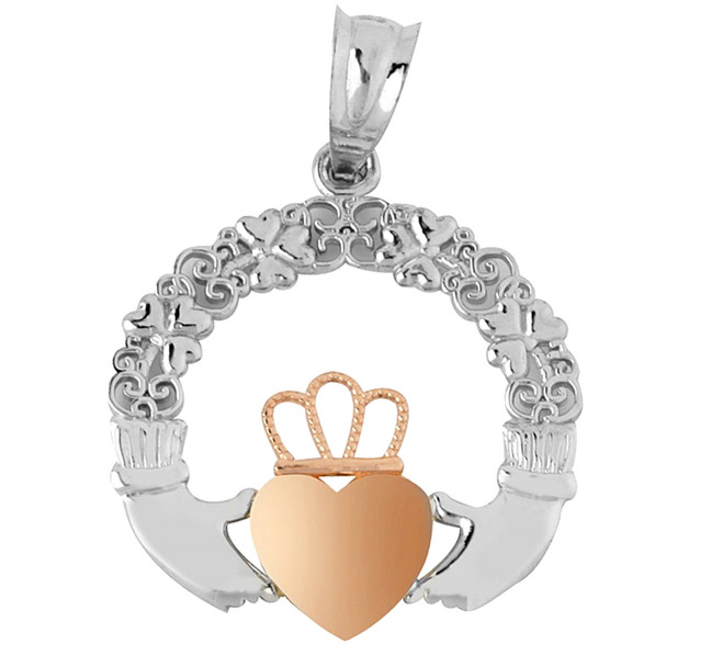 White Gold Claddagh Pendant Yellow Pink