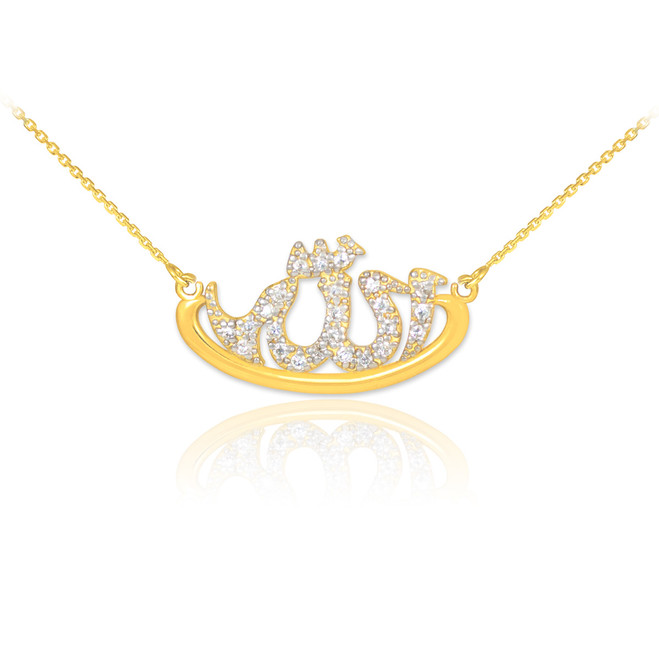 14k Gold Allah Diamond Necklace