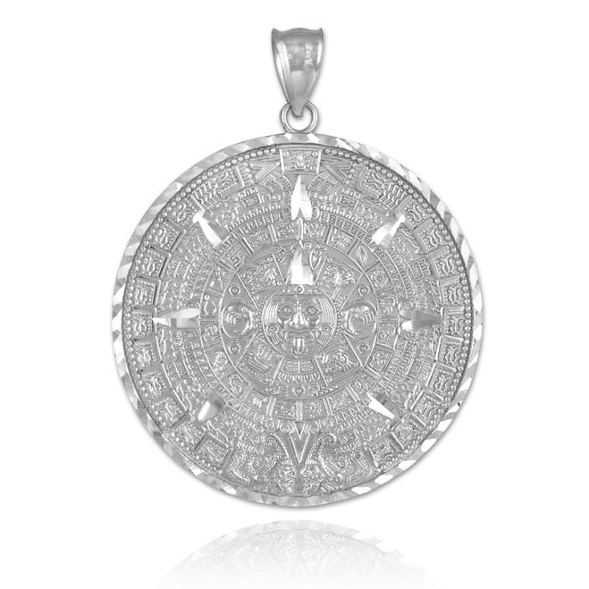 White Gold Aztec Mayan Sun Calendar Pendant