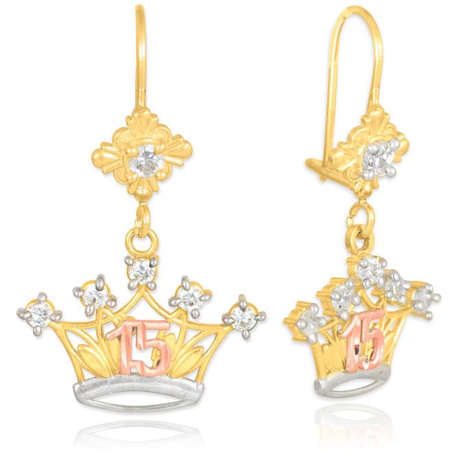 Tri-tone Quinceanera Crown CZ Earrings
