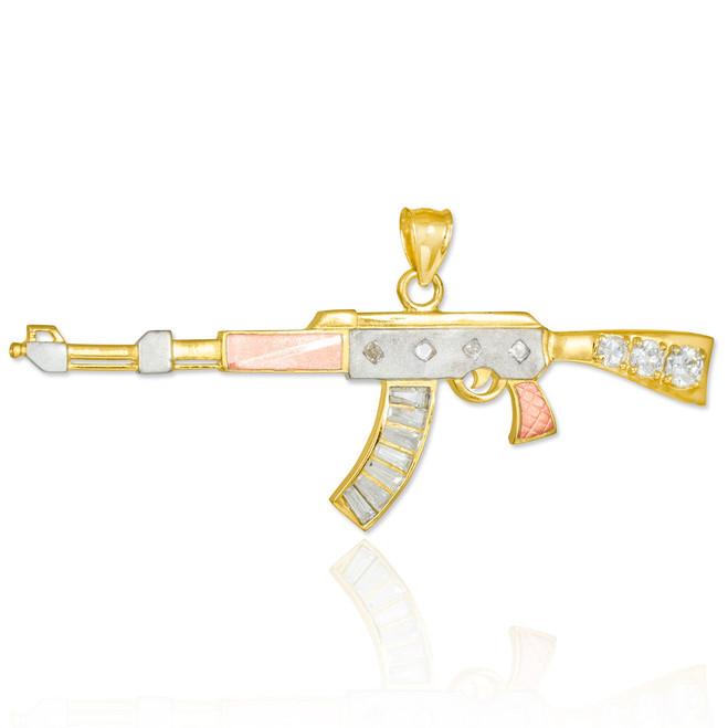 Tri-tone Gold AK-47 Rifle CZ Pendant