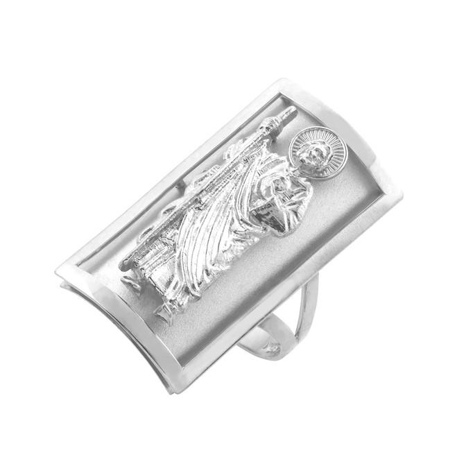 White Gold Saint Jude Fancy Ring 0.9 Inch
