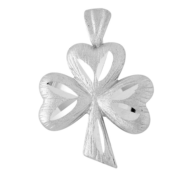 White Gold Clover Celtic Pendant