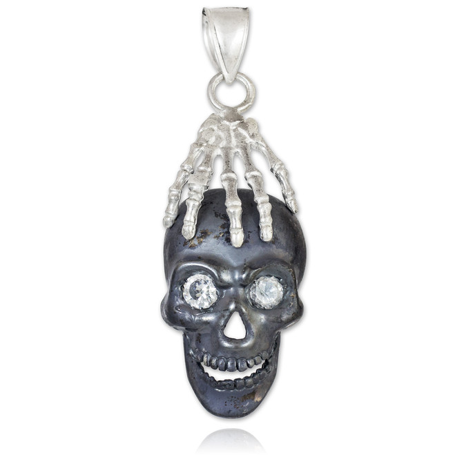 Two-Tone Black Silver Skull and Hand Pendant
